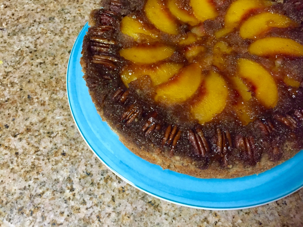 Peach and Pecan Upside Down Cake